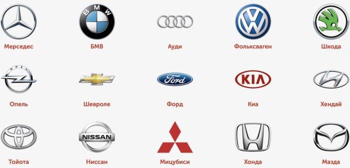 марки машин всего мира